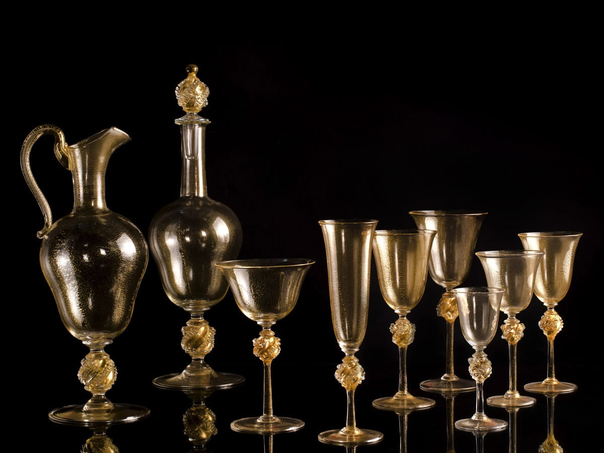 Seguso Gianni Golden Glassware Sets