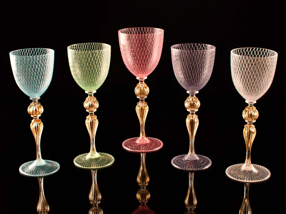 Seguso Gianni Colored Glassware Sets