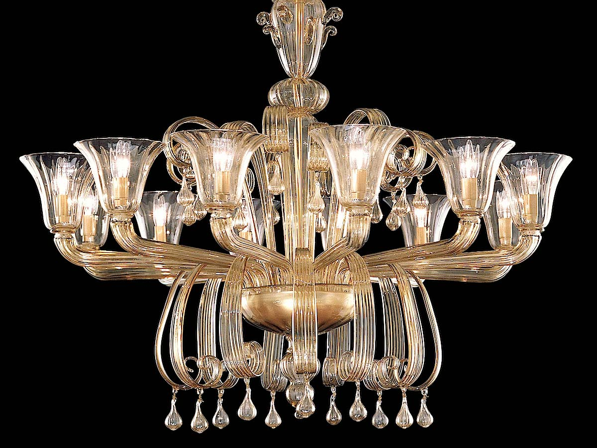 Seguso Gianni Murano Glass Chandeliers